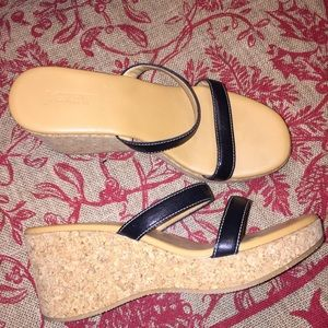 J.crew platform cork  heel wedge sandals 9